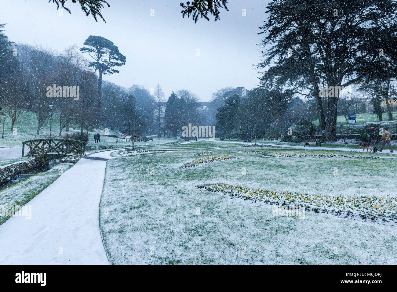 Heavy snowfal in Trenance Gardens in Newquay Cornwall. - Stock Image