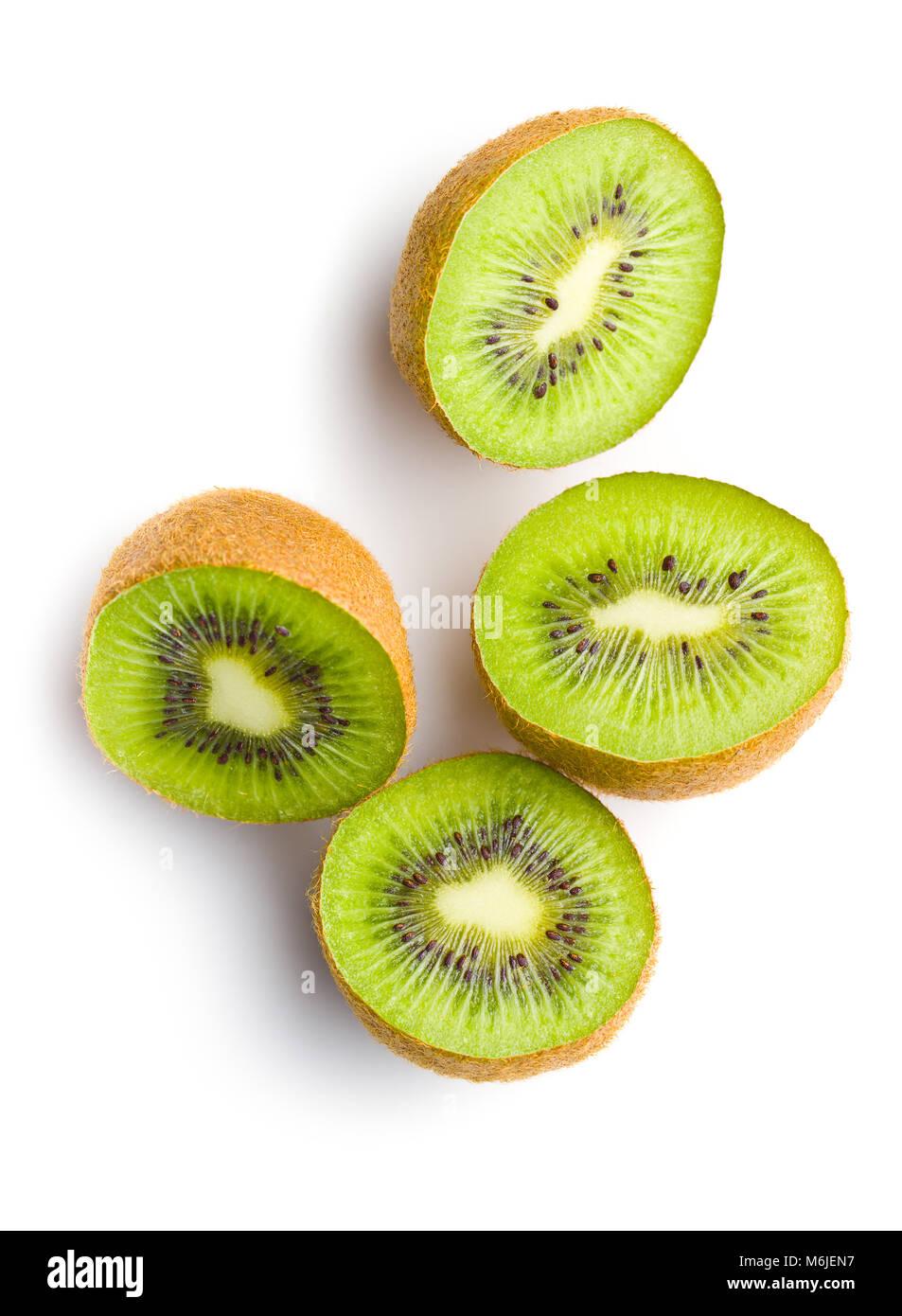 Halved kiwi fruit isolated on white background. - Stock Image