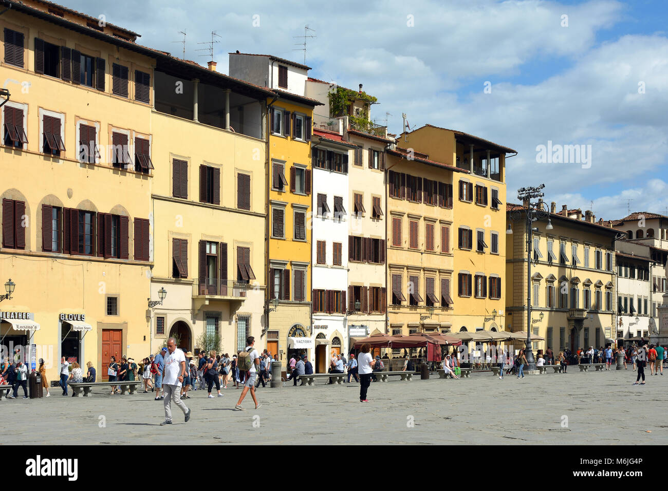Florence, Tuscany, Italy - September 14, 2017: Tourists on the Piazza Santa Croce in Florence - Italy. - Stock Image