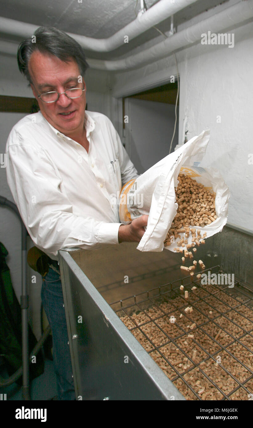 BIOMASS ENERGY Briquettes are use in a family house for heating 2007 - Stock Image