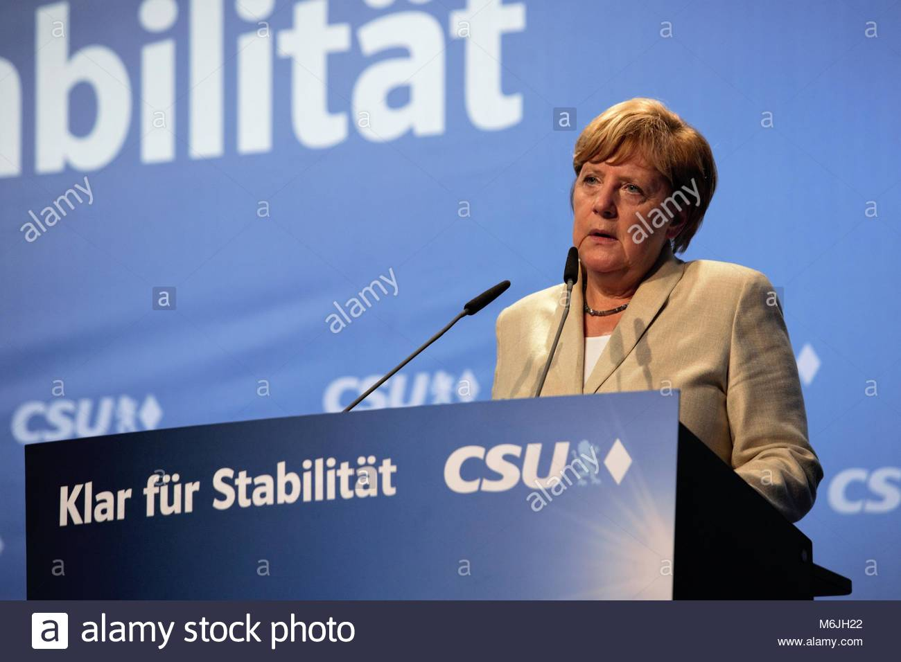 The German chancellor, Angela Merkel, at an election rally in Erlangen, Bavaria, in August 2017. - Stock Image