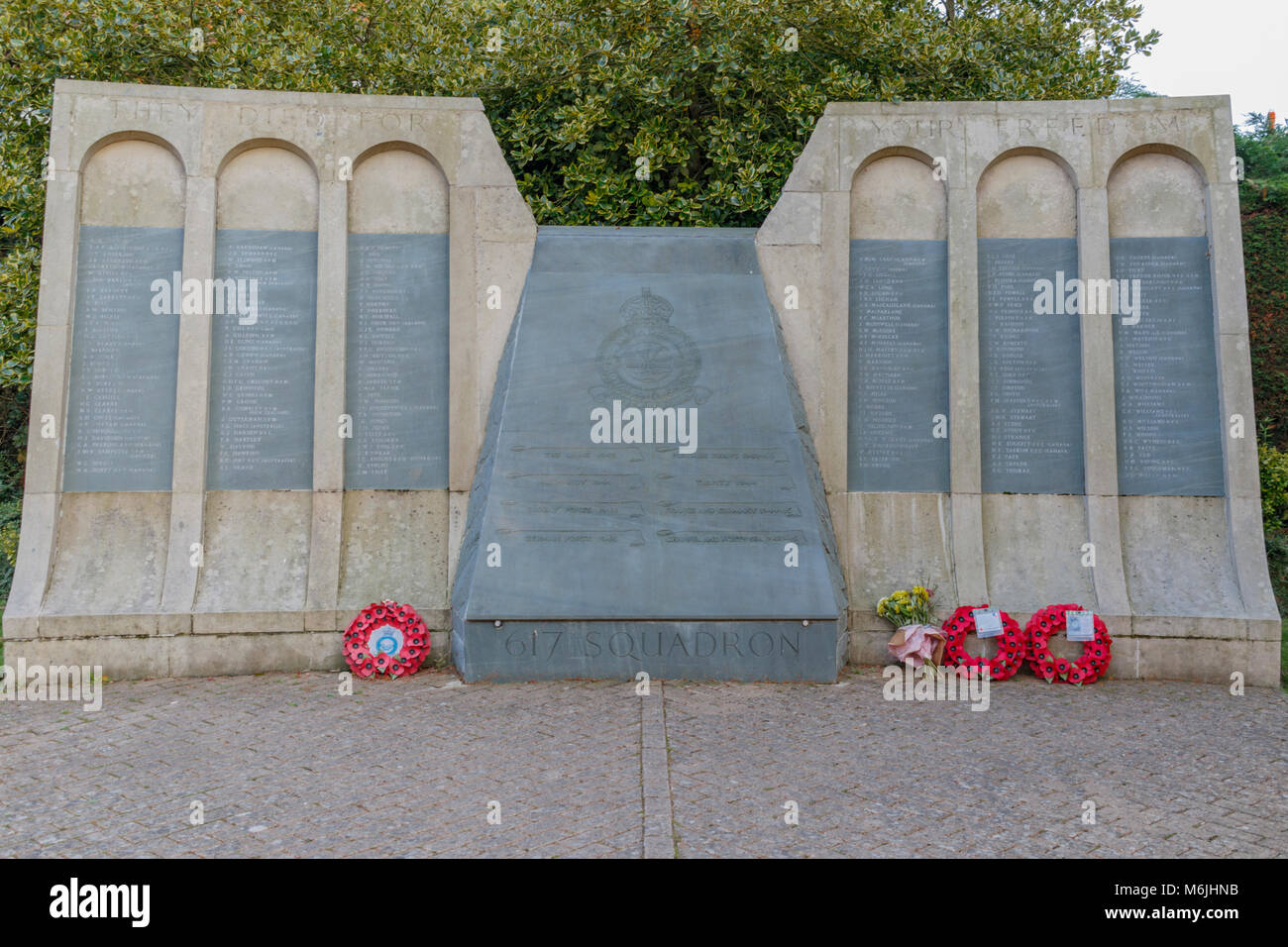 Stone and slate memorial to the crew of 617 Squadron Royal air Force (The Dam BUsters) RAF. Woodhall Spa Linconshire - Stock Image