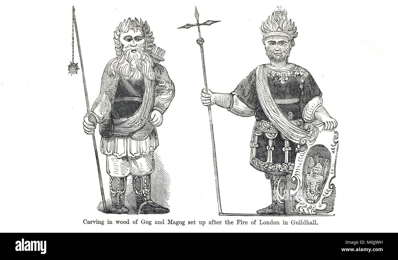 Wooden Gog and Magog, London Guildhall, set up after the great fire of London - Stock Image