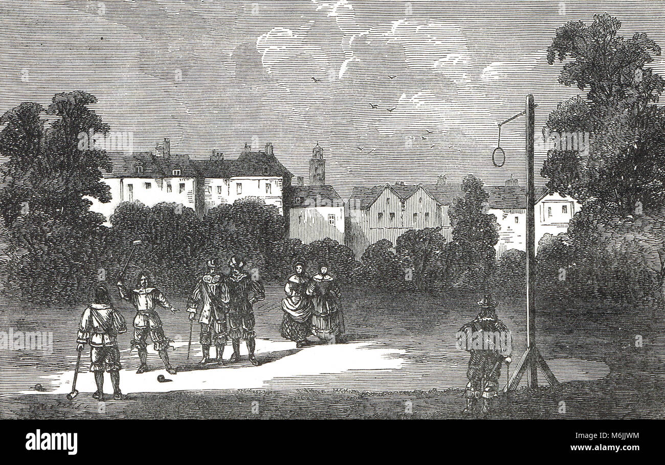 A game of Pell Mell, during the reign of Charles II, London, England (The London district of Pall Mall is named - Stock Image