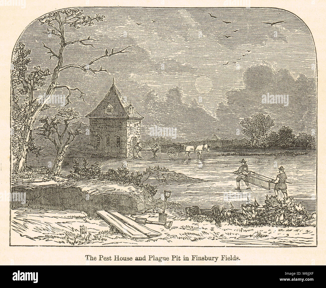 The Pest house and Plague pit, Finsbury Fields, London, England, The Great Plague of 1665 - Stock Image