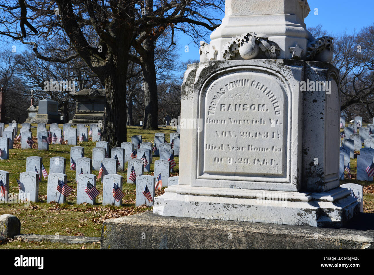 Obelisk memorializing Civil War General Thomas Edwin Greenfield Ransom of the Illinois infantry at the Rosehill - Stock Image