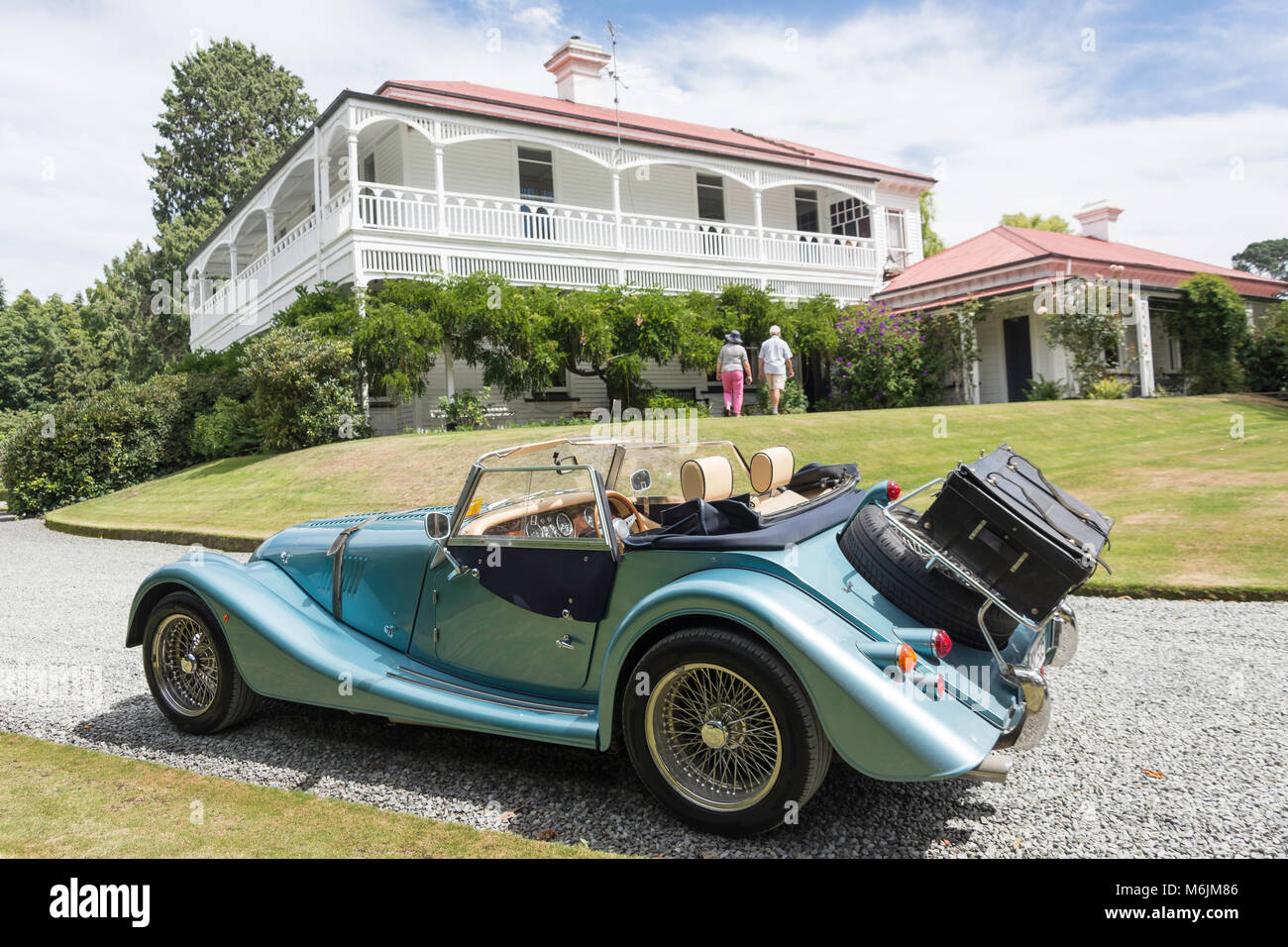 2010 Morgan Roadster convertible car, Homesdale House, Rakaia, Canterbury, New Zealand - Stock Image