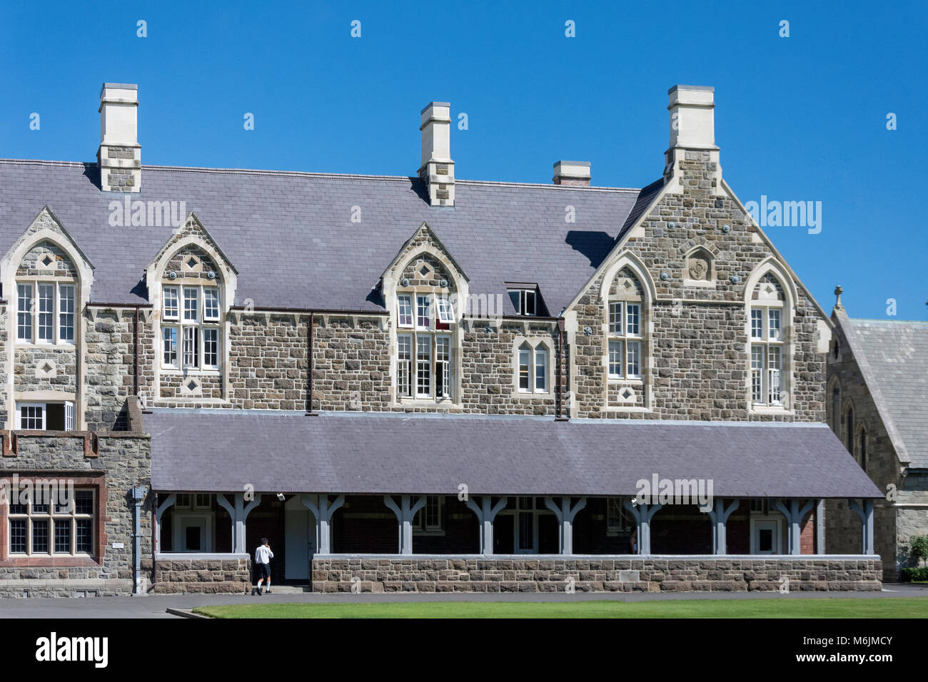 Harper and Julius House cloisters, Christ's College, Rolleston Avenue, Christchurch, Canterbury Region, South - Stock Image