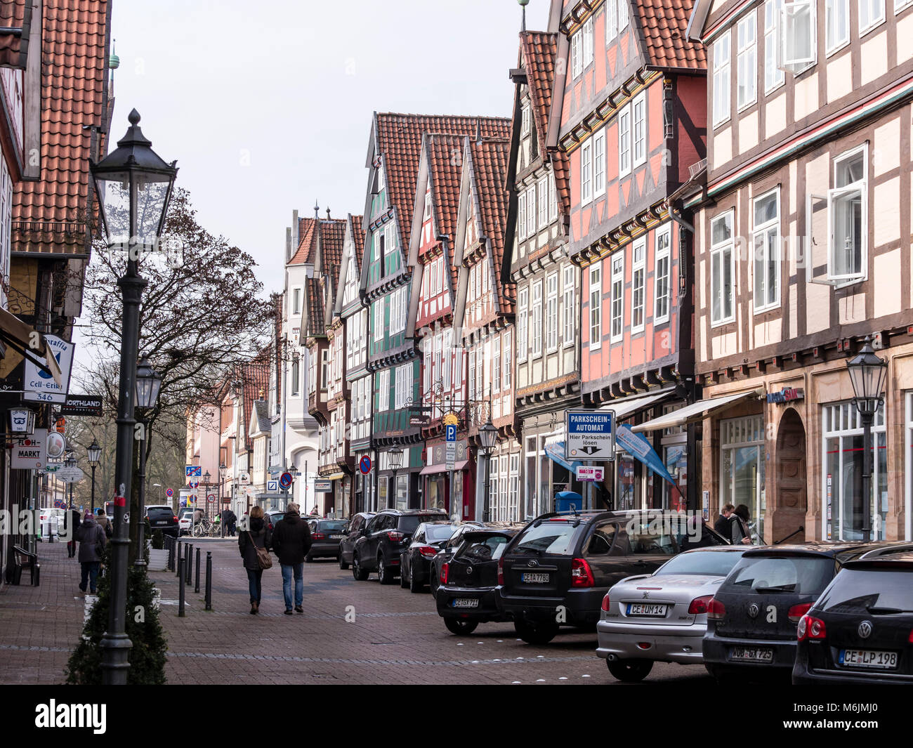 Pottery shop, historical center of Celle, half-timbered house in street 'Schuhstrasse', Celle, Lower Saxony, - Stock Image