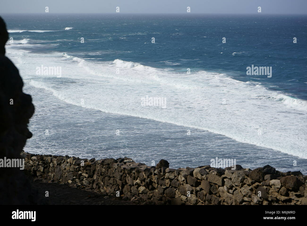 Breakers, Old coastal path from Ponta Do Sol to Cruzinha on the island of Santo Antao, Cape Verde - Stock Image