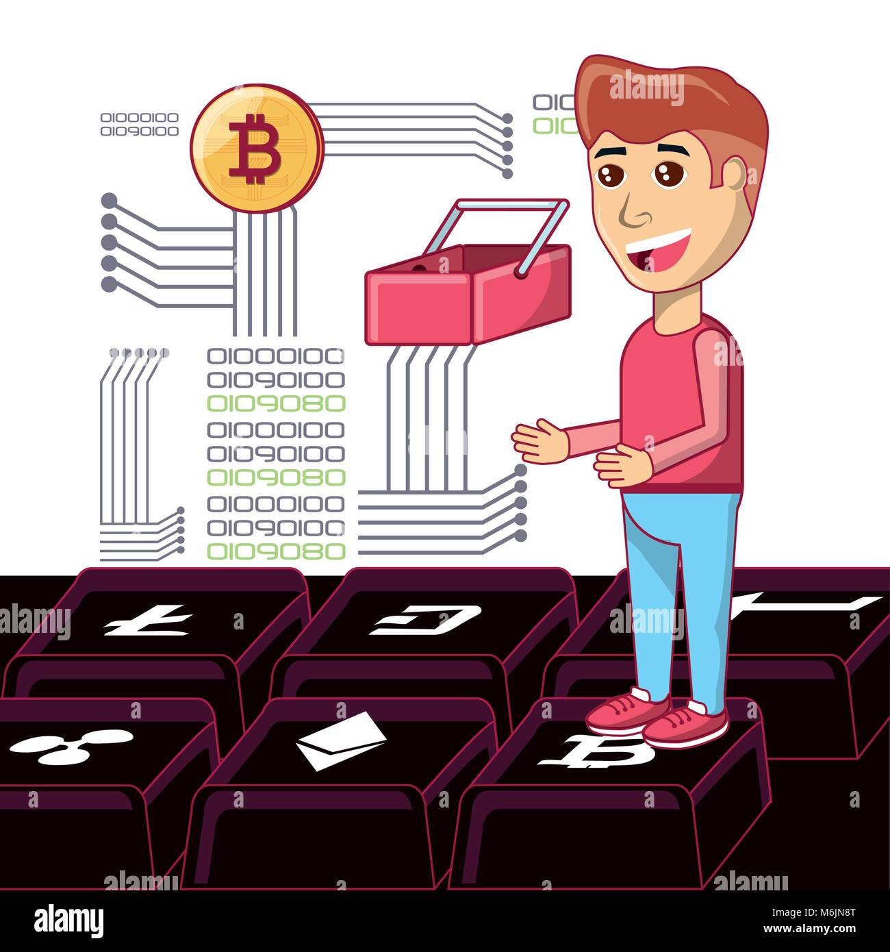 Bitcoin accepted design with cartoon man and shopping basket with binary codes and electronic circuits over white - Stock Image