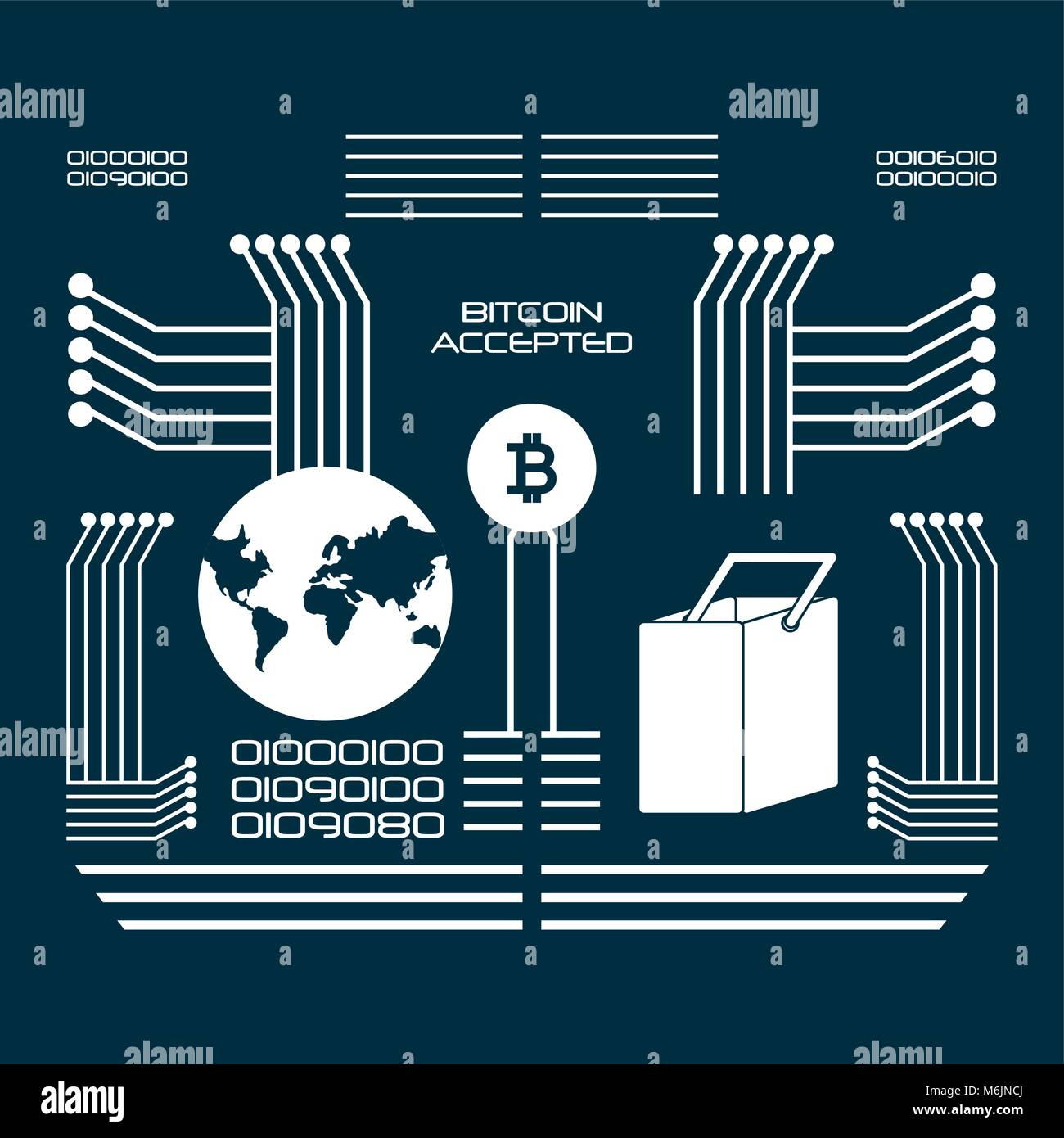 Bitcoin accepted design with binary codes and electronic circuits, vector illustration - Stock Image