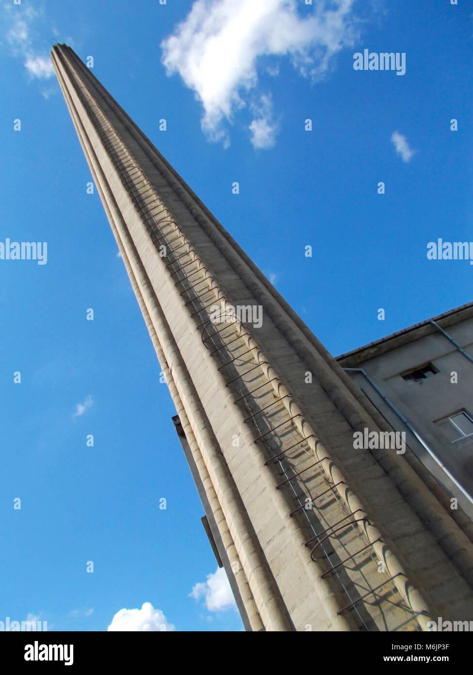 Chimney stack, Ladder, Path upwards, Sky, Diagonal - Stock Image