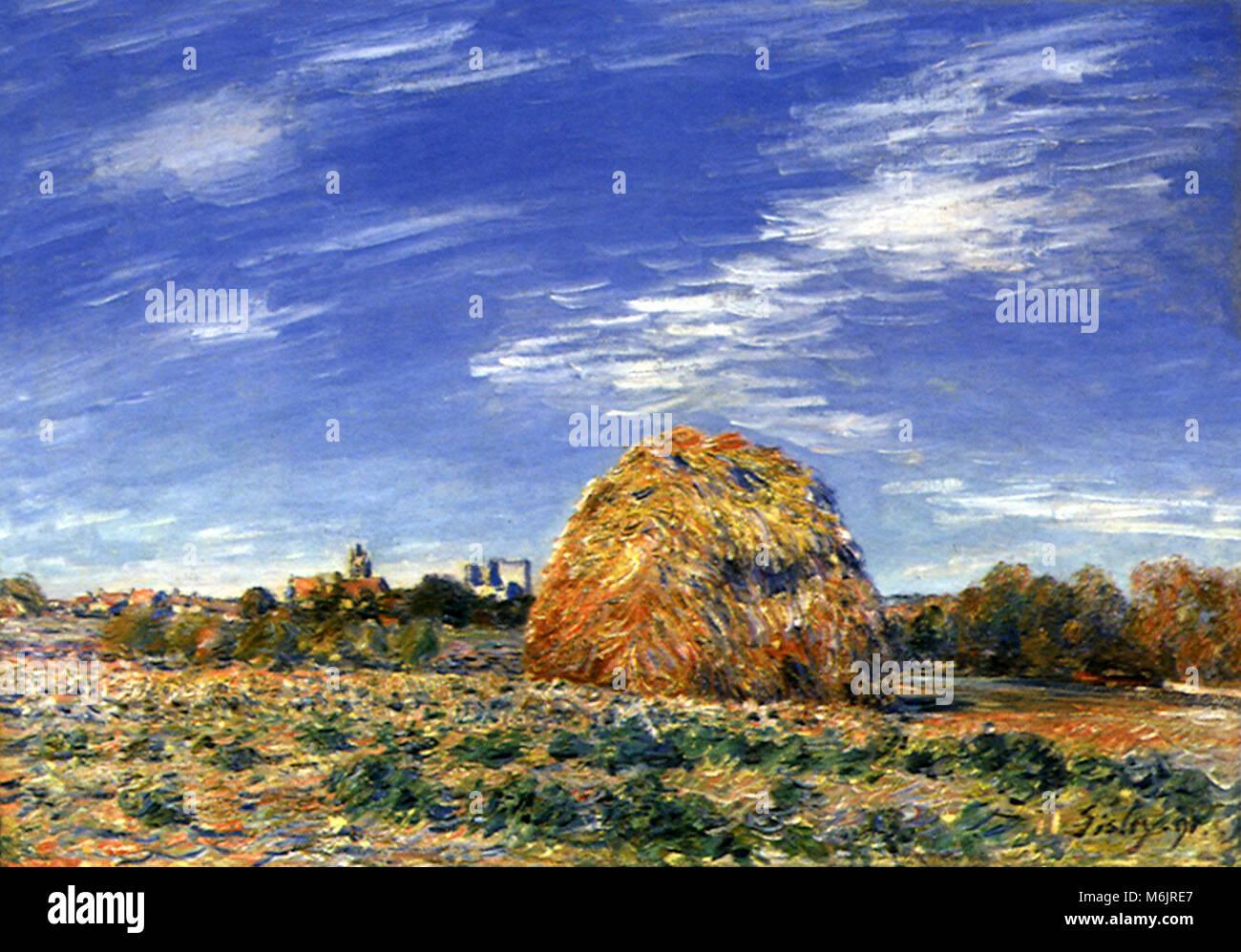 Haystacks at Moret, Sisley, Alfred, 1891. - Stock Image