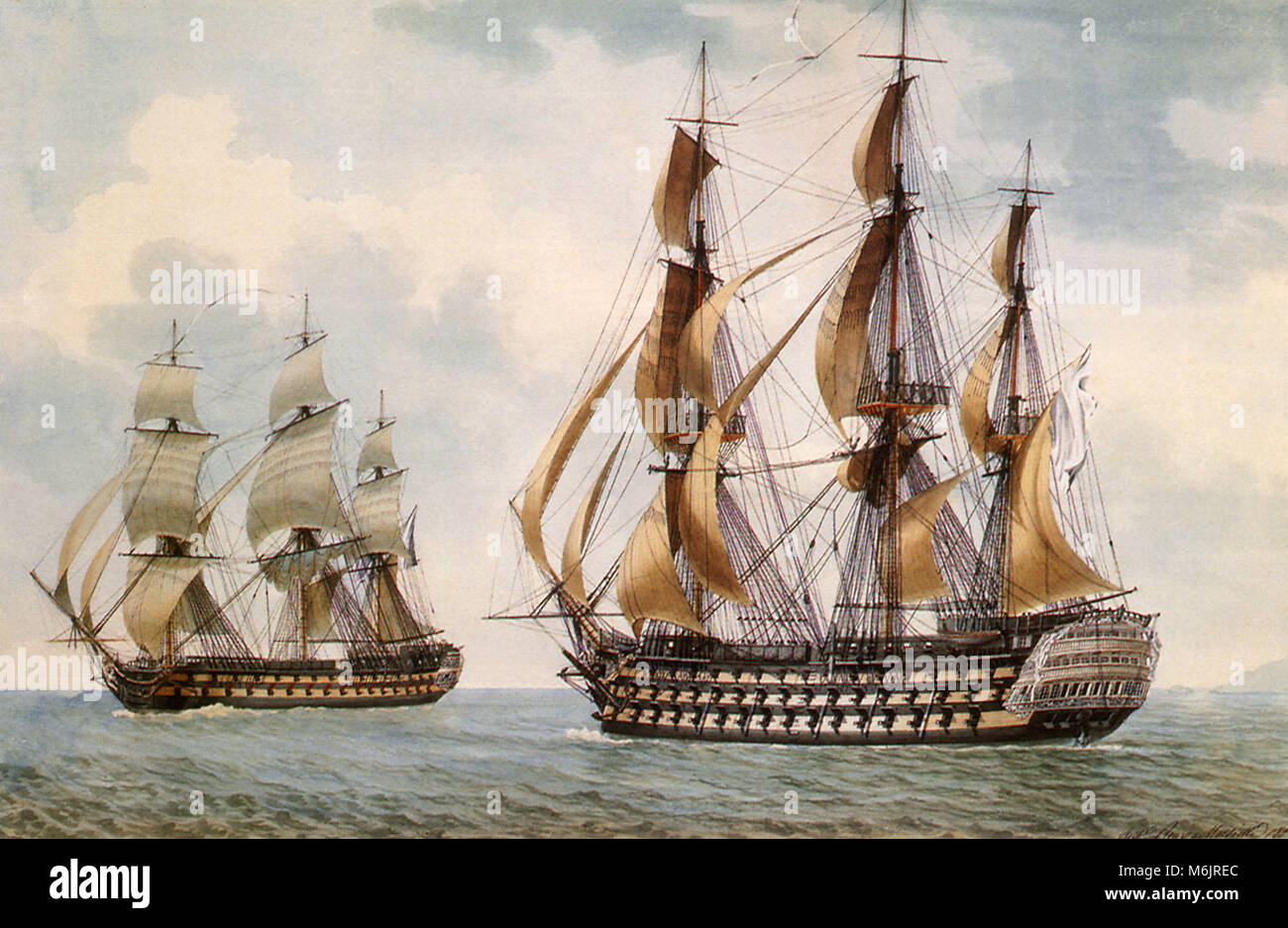 The French Ship-of-the-Line Commerce de Paris, Roux, Ange Joseph Antoine, 1804. Stock Photo