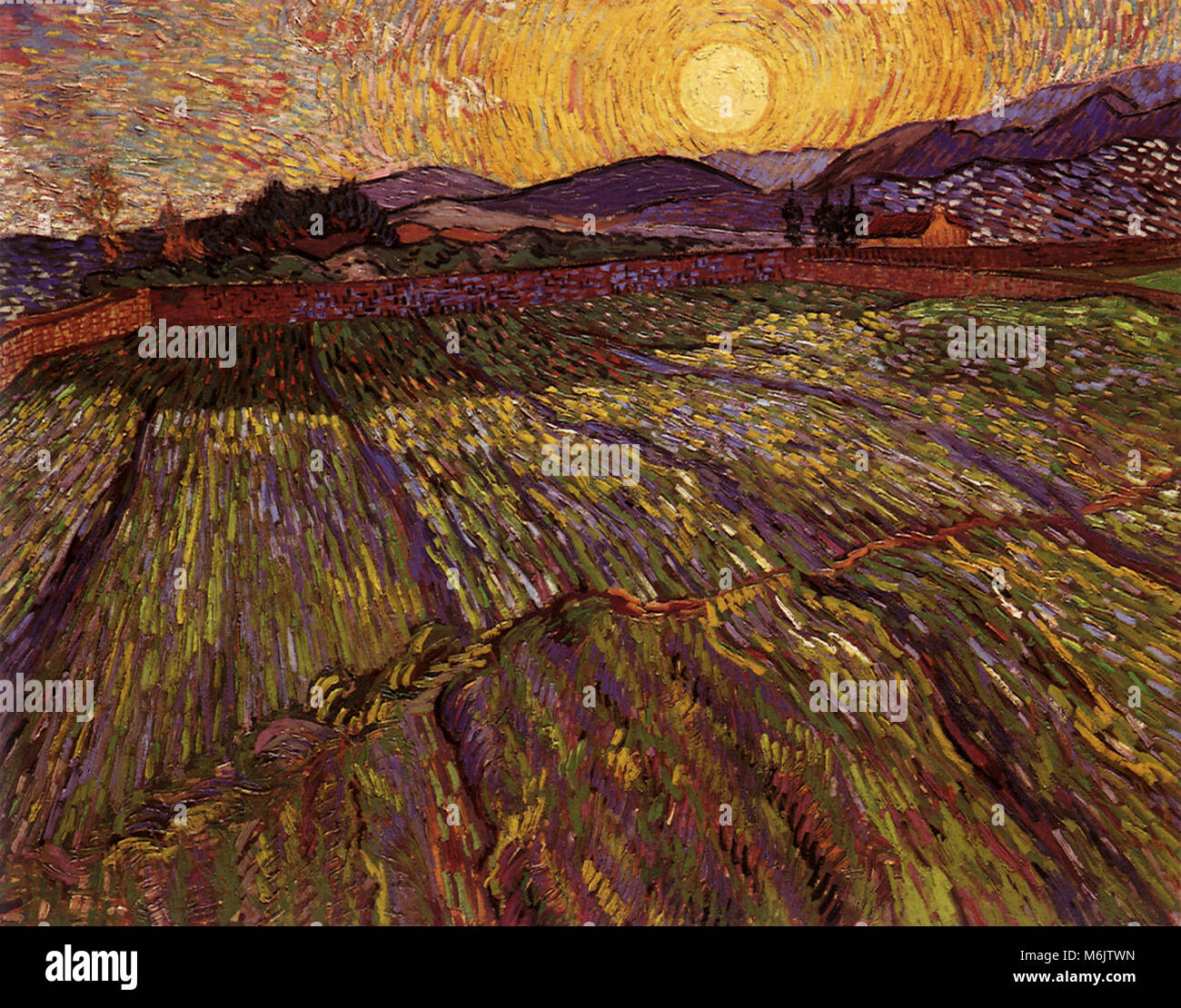 Wheat Field with Rising Sun, Van Gogh, Vincent Willem, 1889. - Stock Image