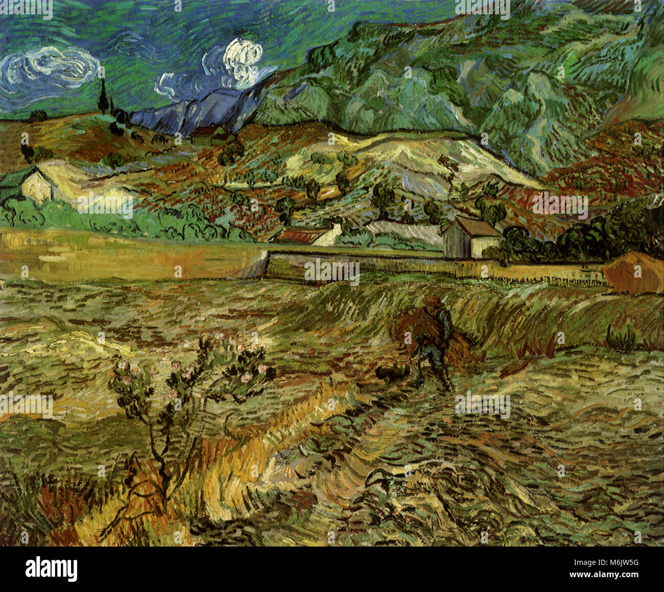 Enclosed Wheat Field with Peasant, Van Gogh, Vincent Willem, 1889. - Stock Image