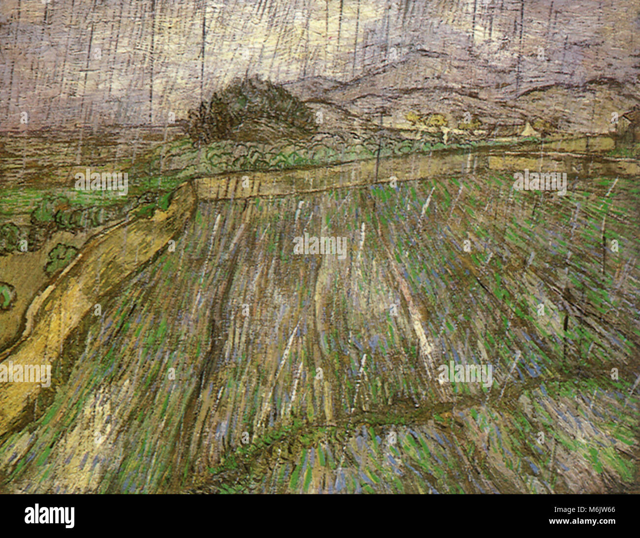 Wheat Field in Rain, Van Gogh, Vincent Willem, 1889. - Stock Image