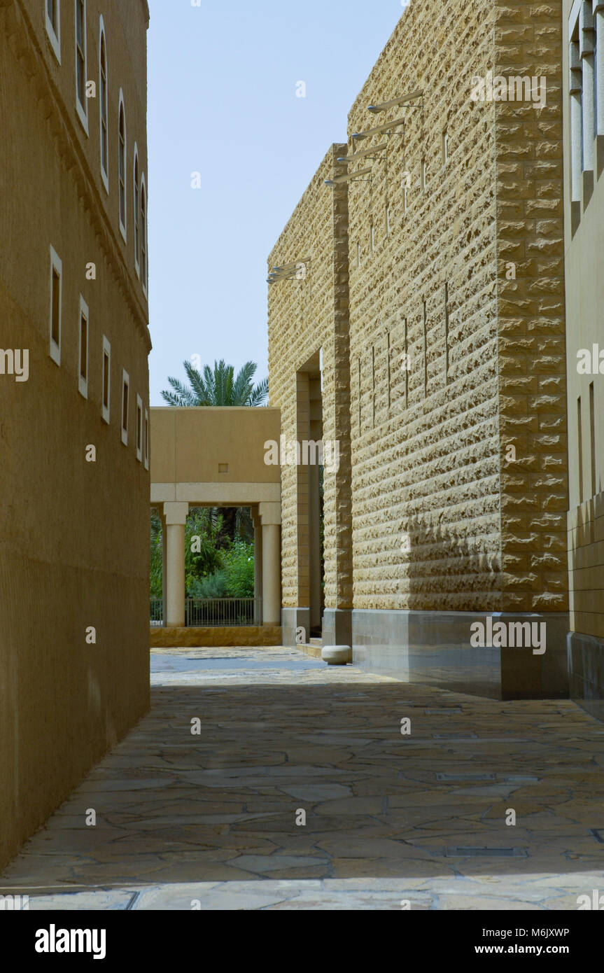 Passage Between Buldings at King Abdul Aziz Historical Center in Riyadh, Saudi Arabia - Stock Image