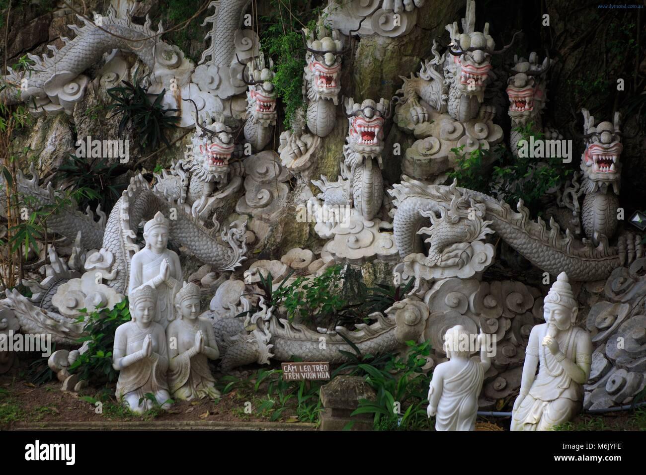 Statues in the gardens of Thuy Son Mountain, Da Nang, Vietnam - Stock Image
