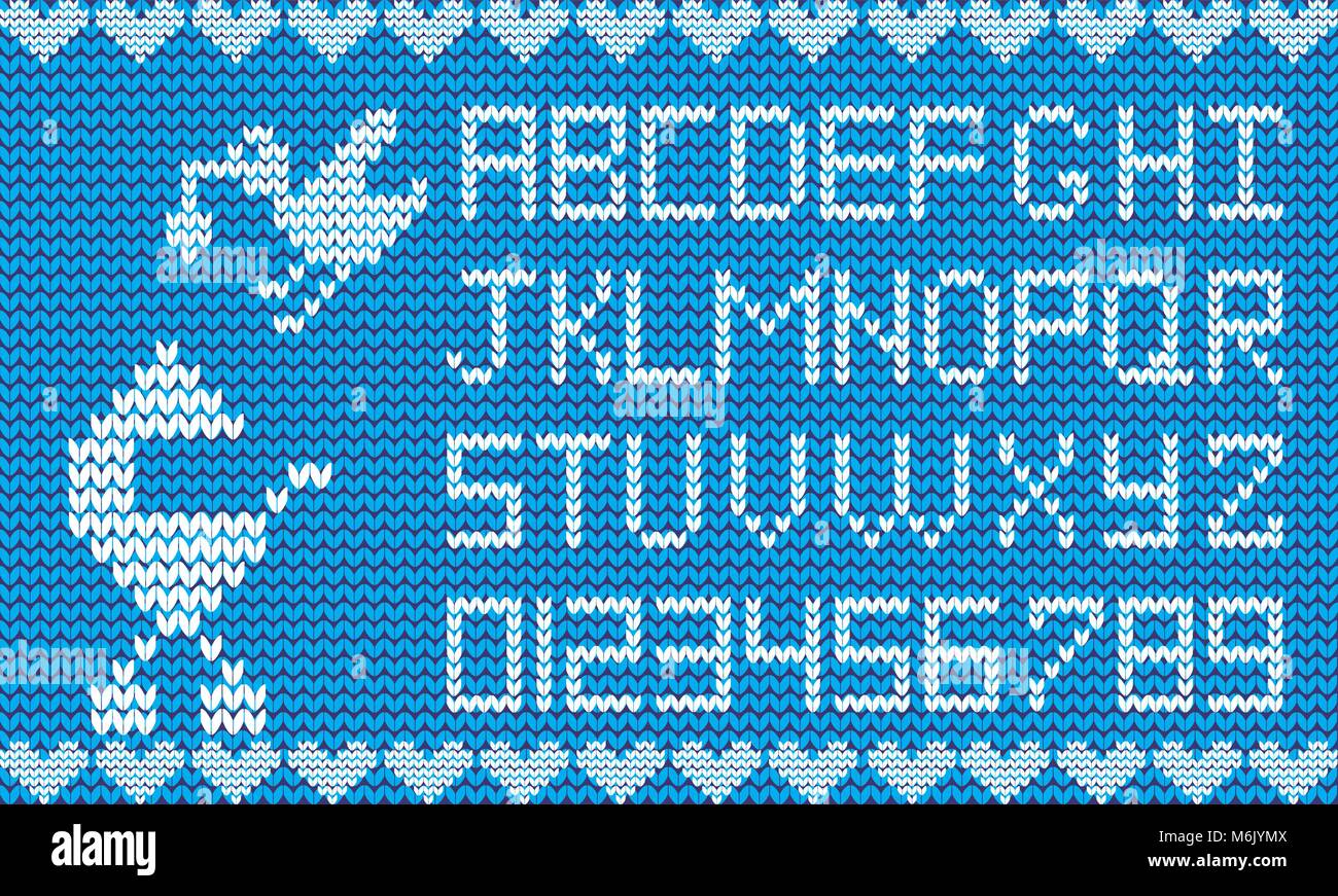Baby fabric script for boy. Knitted alphabet with illustration of ...