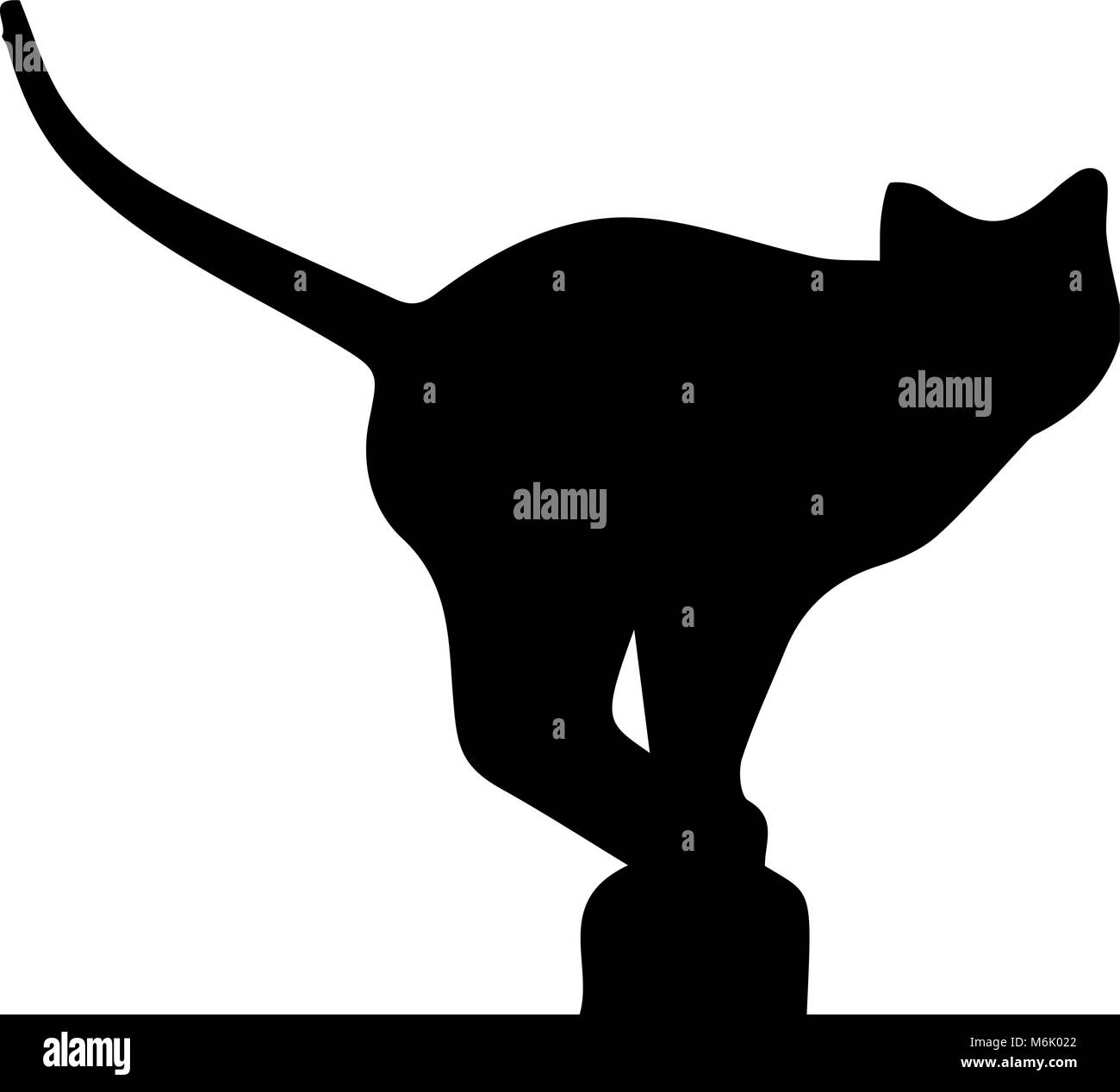 Black silhouette of cat sitting on chimney isolated on white background. Vector illustration, icon, clip art. - Stock Image