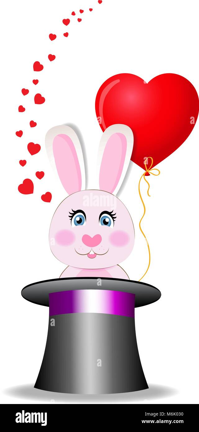 Magic hat with cute bunny with red heart shaped balloon and many hearts around. Rabbit appears from cylinder hat - Stock Vector