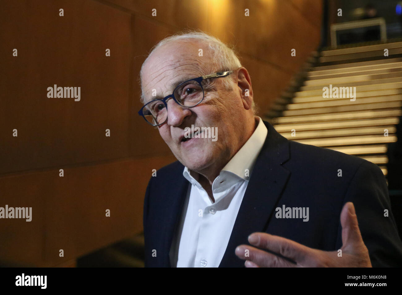 Gdansk, Poland. 4th Mar, 2018. Jewish activist, publicist and director Leszek Leo Kantor visits European Solidarity - Stock Image