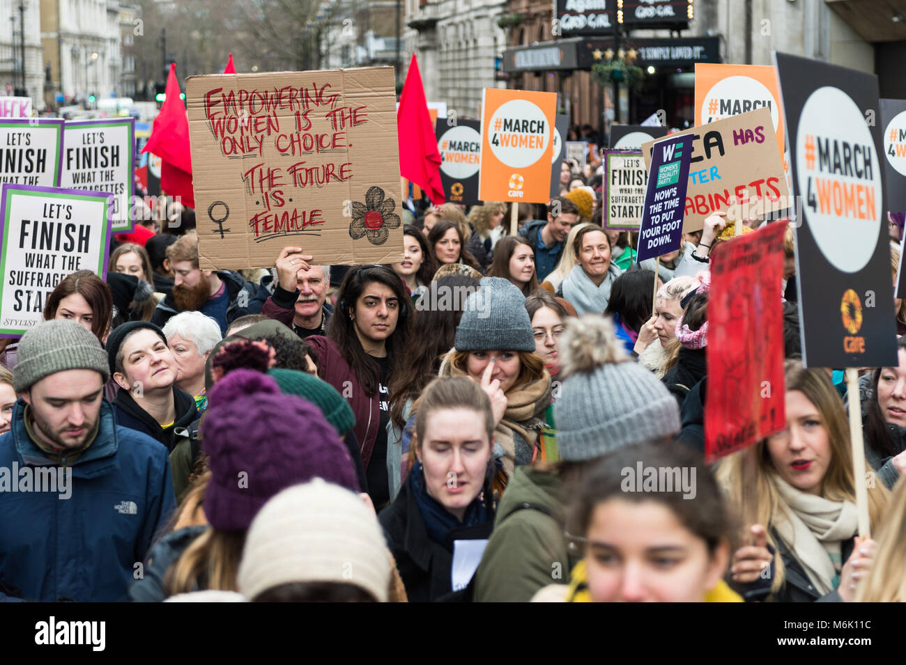 London, UK. 4th March, 2018. Thousands of people including politicians, celebrities and activists marched from the - Stock Image