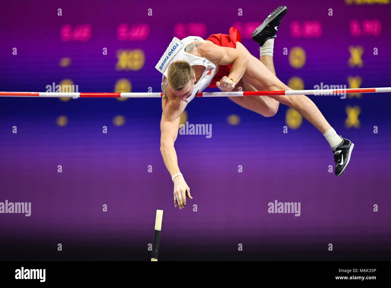 Birmingham, UK. 4th Mar, 2018. Piotr Liske (POL) in Men's Pole Vault Final during IAAF World Indoor Championships - Stock Image