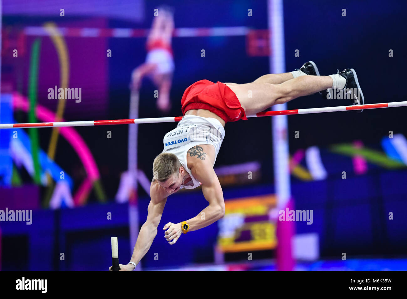 Birmingham, UK. 4th Mar, 2018. Piotr Liske in Men's Pole Vault Final during IAAF World Indoor Championships - Stock Image