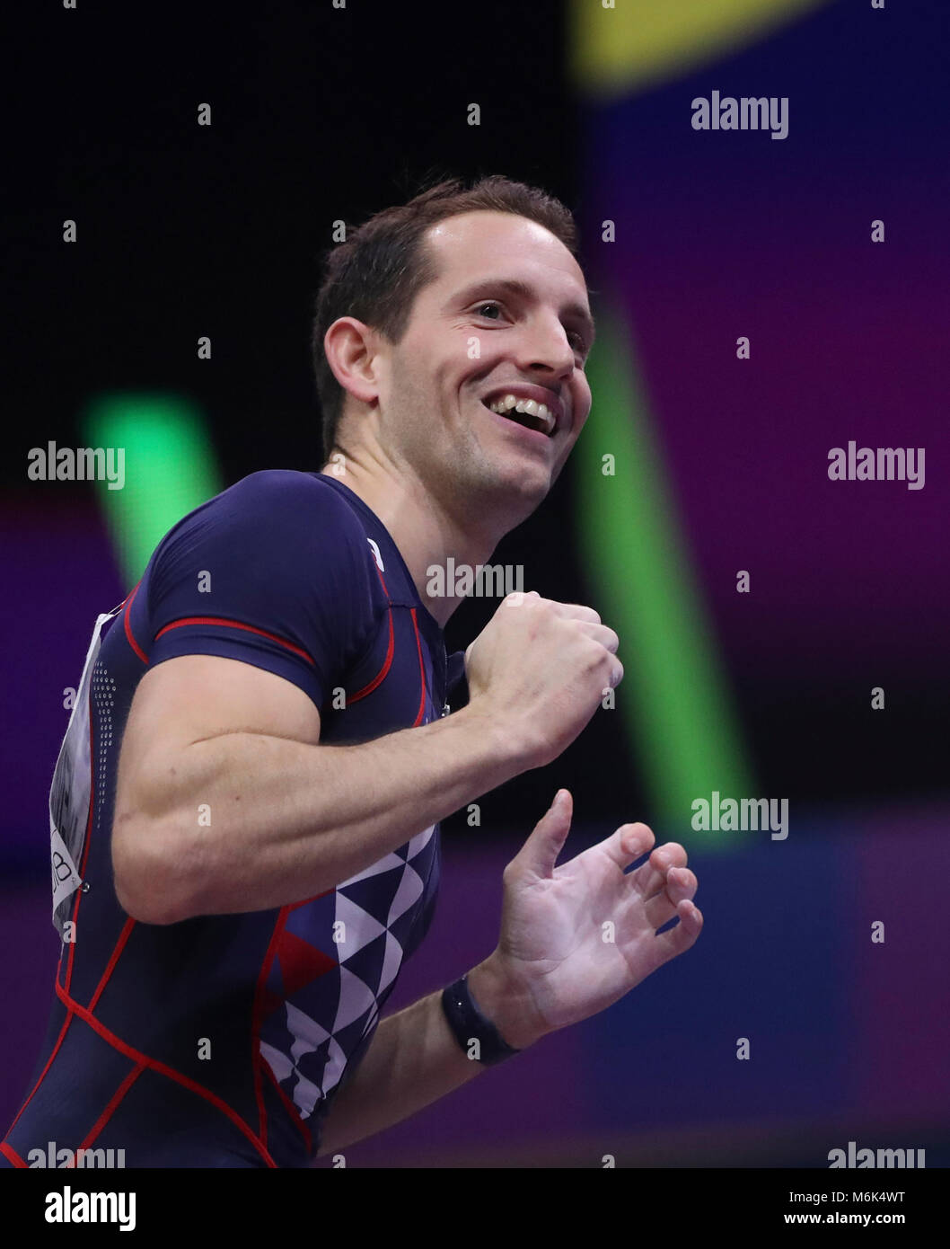 Birmingham. 4th Mar, 2018. Renaud Lavillenie of France reacts during the men's pole vault final of the IAAF - Stock Image