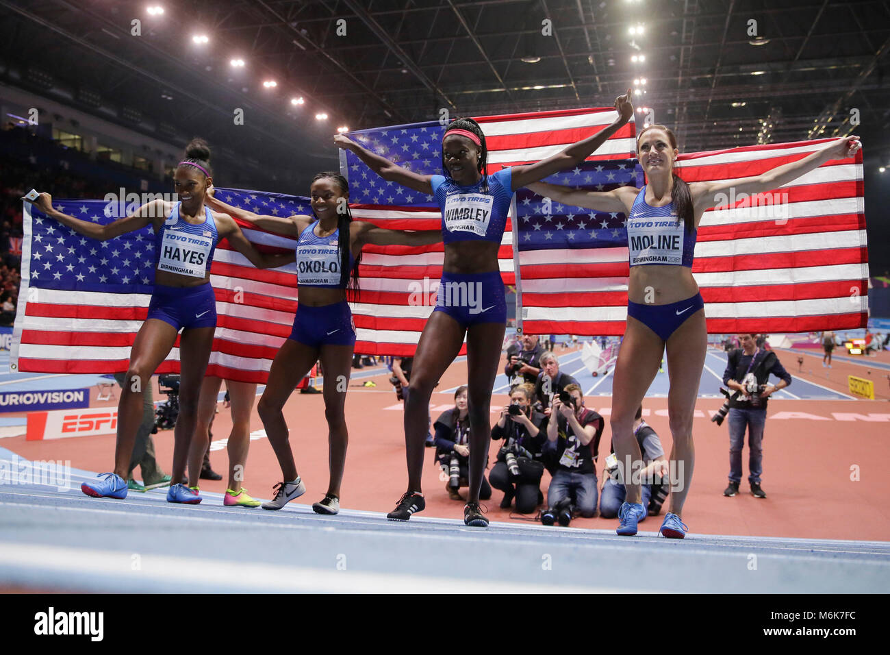 Birmingham, Courtney Okolo and Quanera Hayes celebrate after winning the women's 4x400m relay final during the - Stock Image
