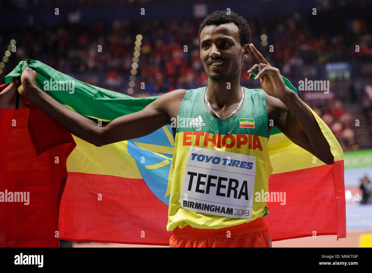 Birmingham. 4th Mar, 2018. Samuel Tefera of Ethiopia celebrates after winning the men's 1500m final of the IAAF - Stock Image