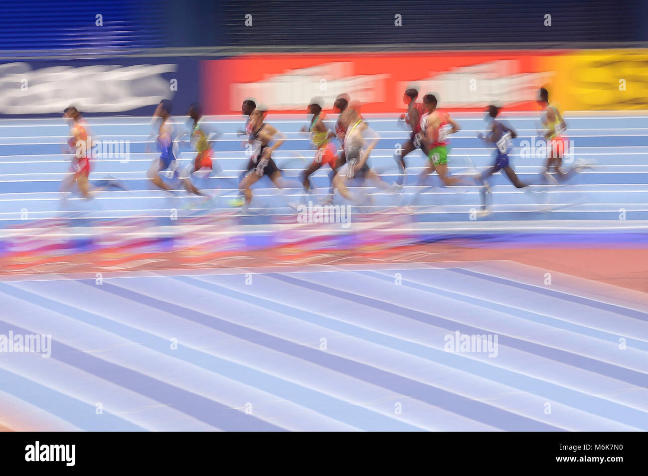 Birmingham. 4th Mar, 2018. Runners compete during the men's 3000m final of the IAAF World Indoor Championships - Stock Image