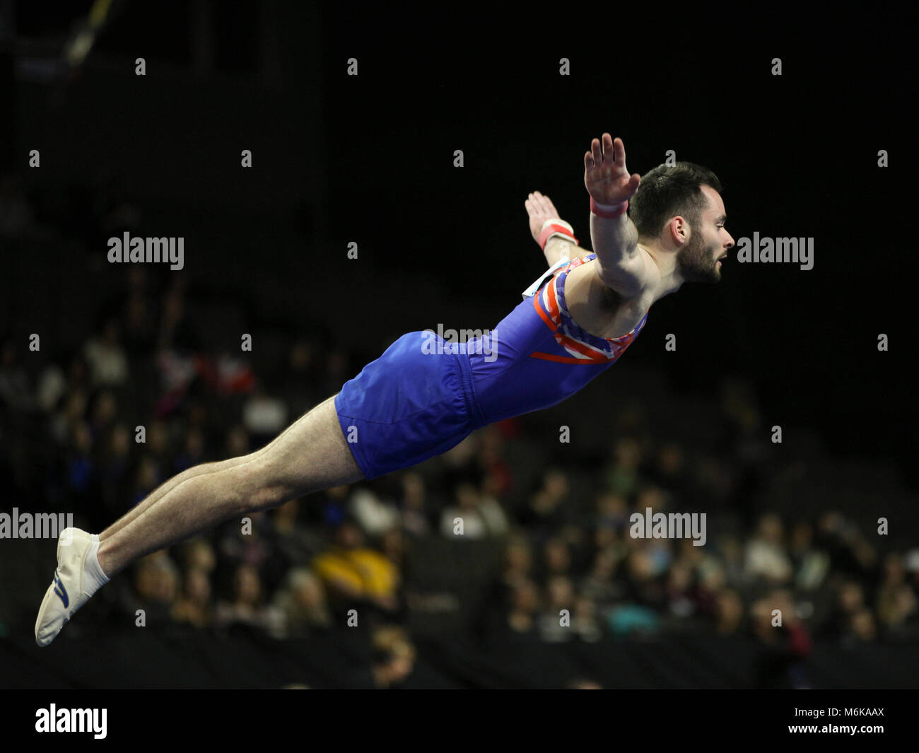 March 3, 2018: Gymnast James Hall (GBR) during the 2018 American Cup gymnastics championships, held in Hoffman Estates, - Stock Image