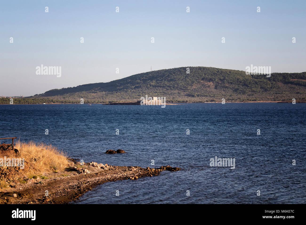 View of Aegean sea and landscape in Cunda (Alibey) island. - Stock Image