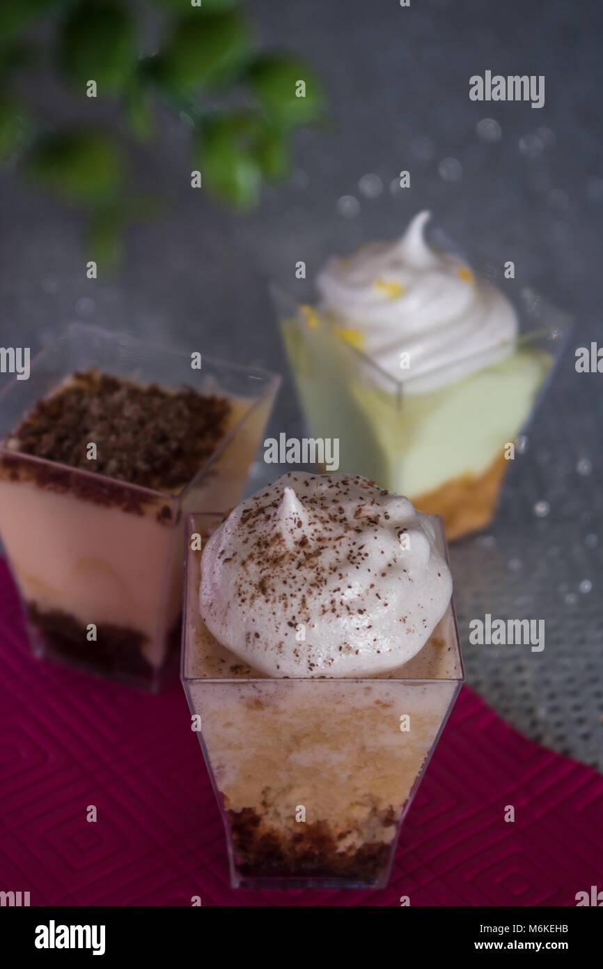 Sweet moment with dessert. Tres Leches Cake, Tiramisu, Lemon Pie - Stock Image