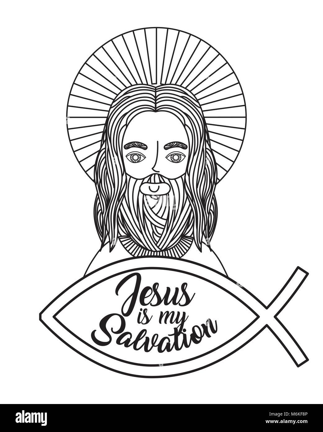 jesus catholicism religion card - Stock Vector