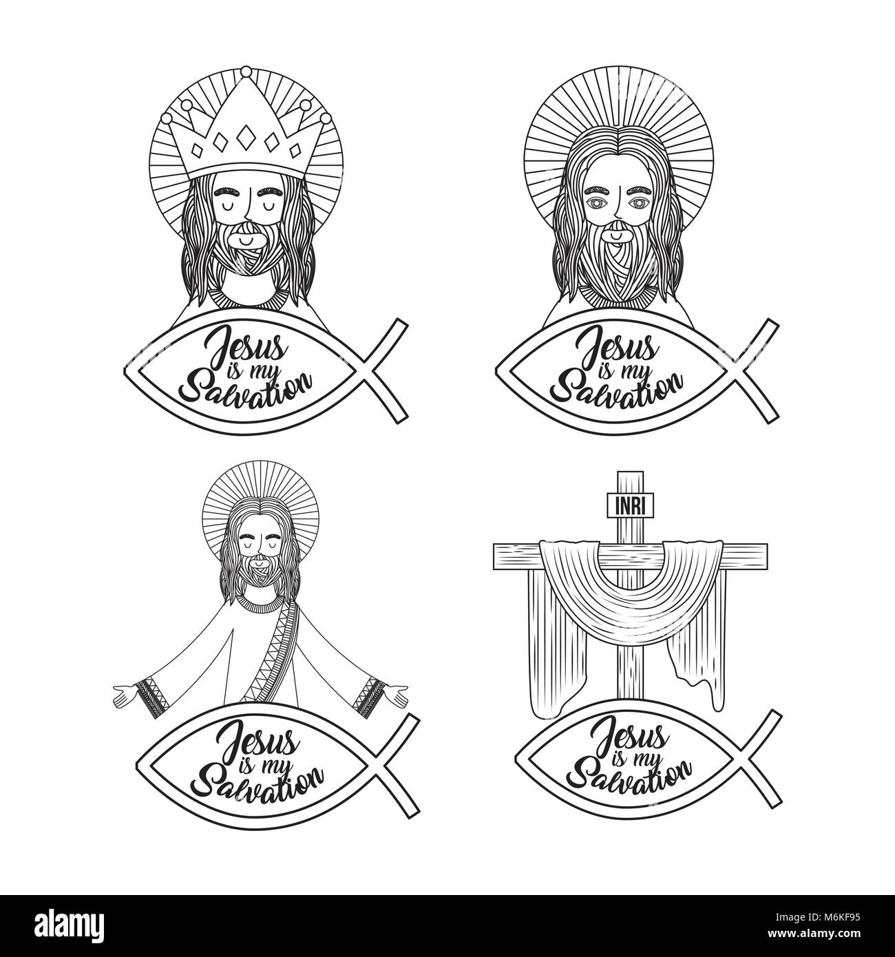 set jesus is my salvation pray bless - Stock Vector