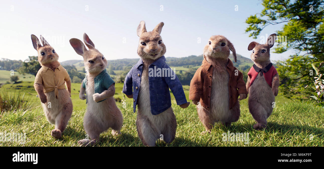 Peter Rabbit is an upcoming 2018 American 3D live-action/CGI animated adventure comedy film written, directed and - Stock Image