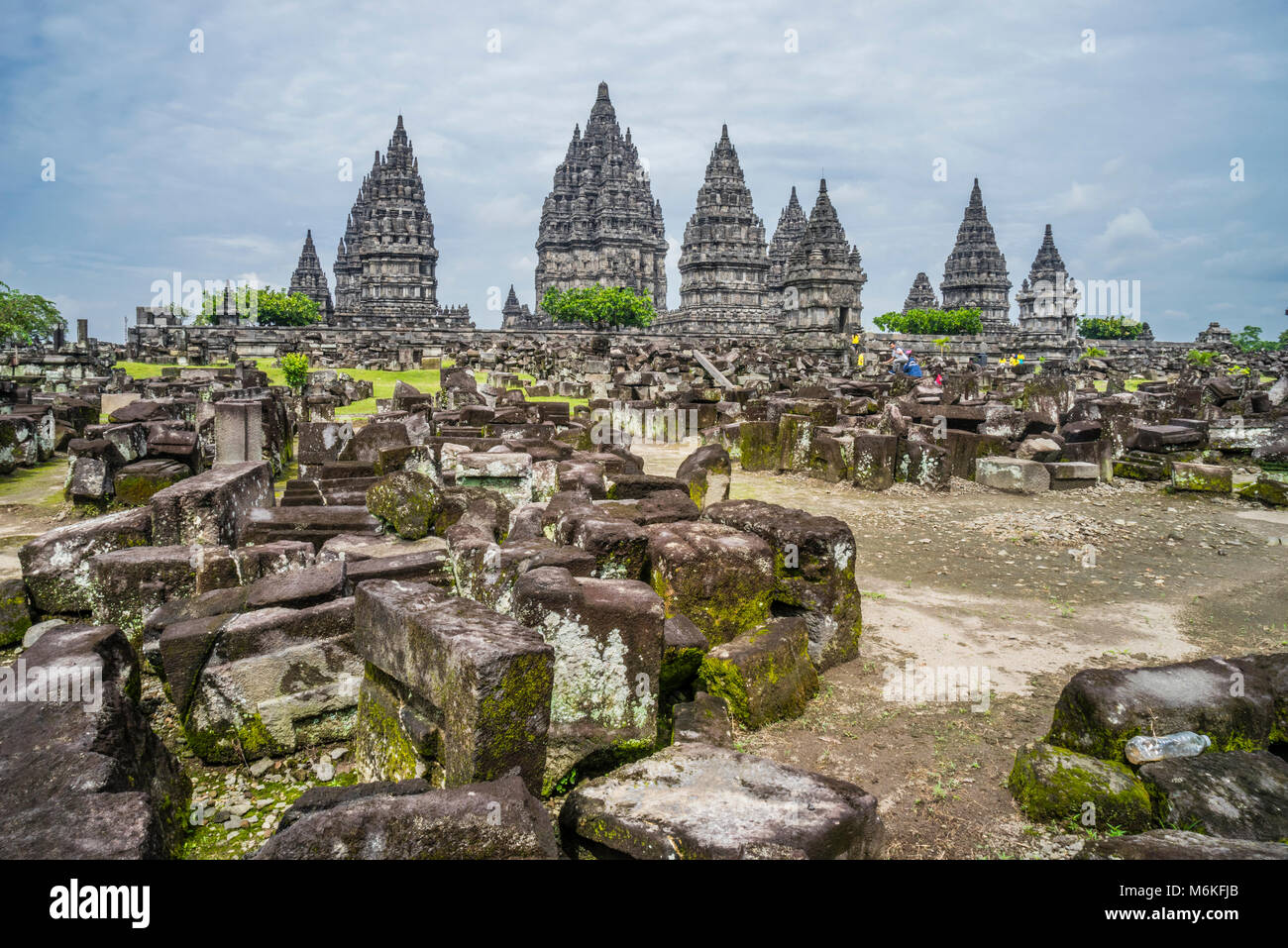 Indonesia, Central Java, scattered masonry in the outer compounds of the mid-9th century Prambanan Hindu Temple - Stock Image