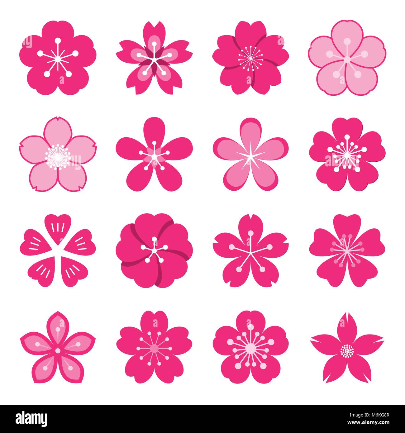 sakura icons collection of 16 colored ume japanese cherry blossom