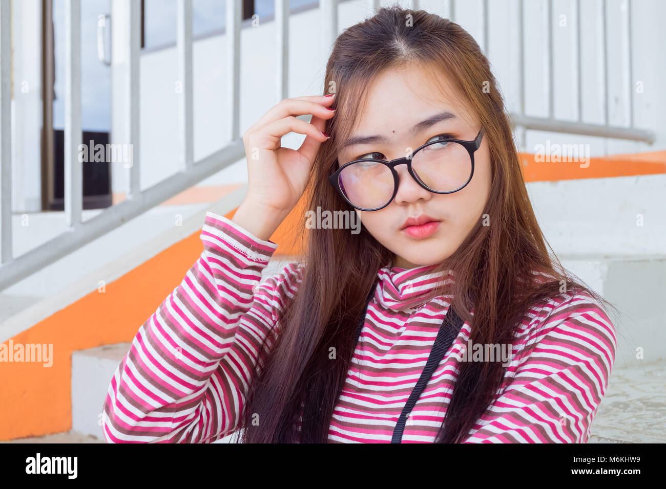 0feed912ab28 Fashion portrait of Hipster teen girl wear casual warm clothes ...