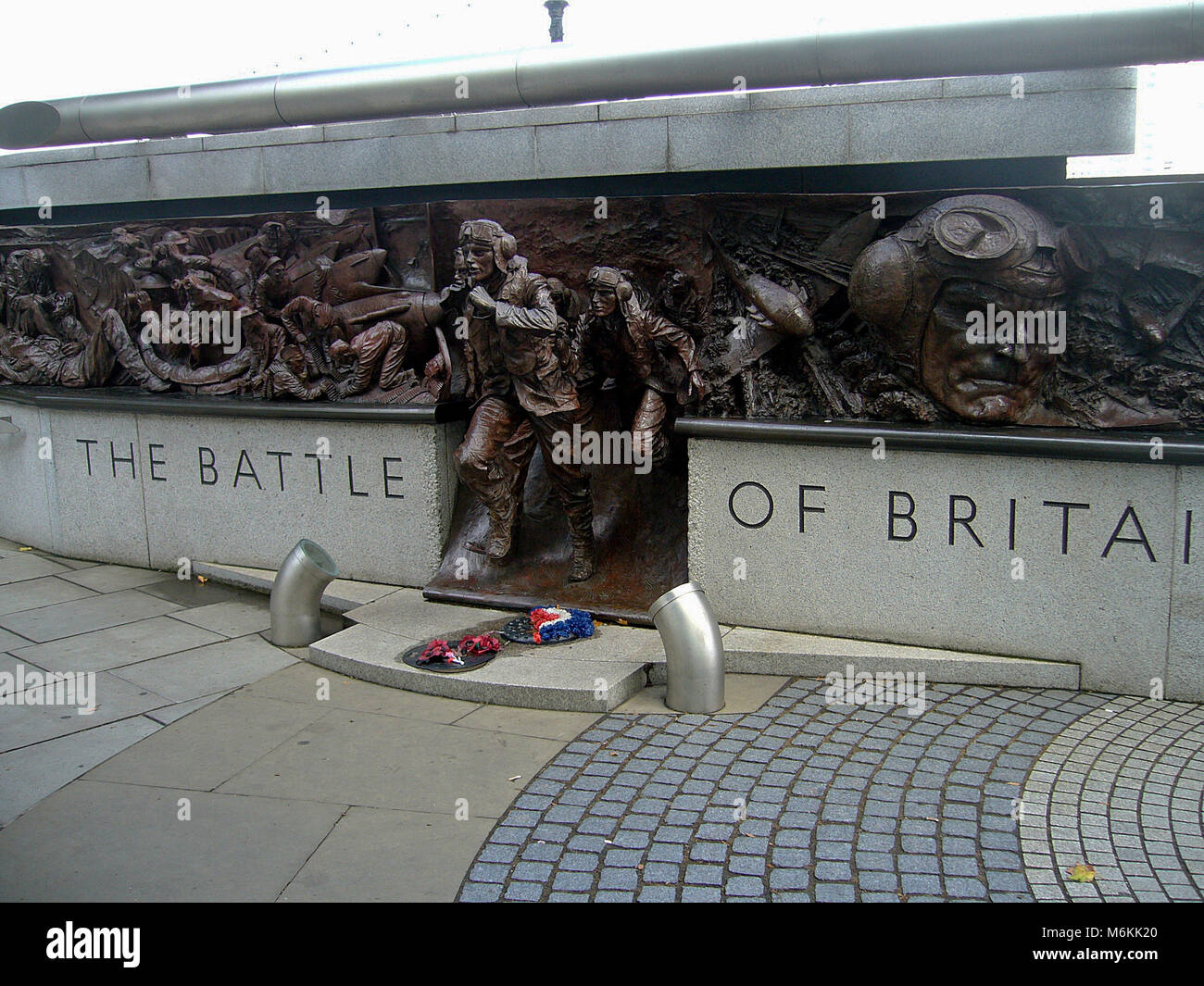 LONDON, UK - Aug 10, 2010: The Battle of Britain Monument on Victoria Embankment commemorates the British military - Stock Image