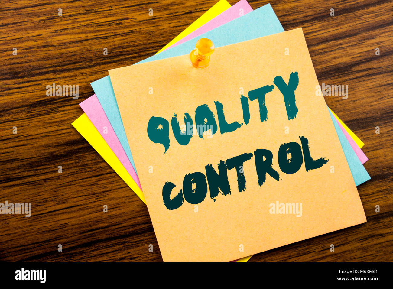 Hand writing text caption inspiration showing Quality Control. Business concept for Improvement Work written on - Stock Image