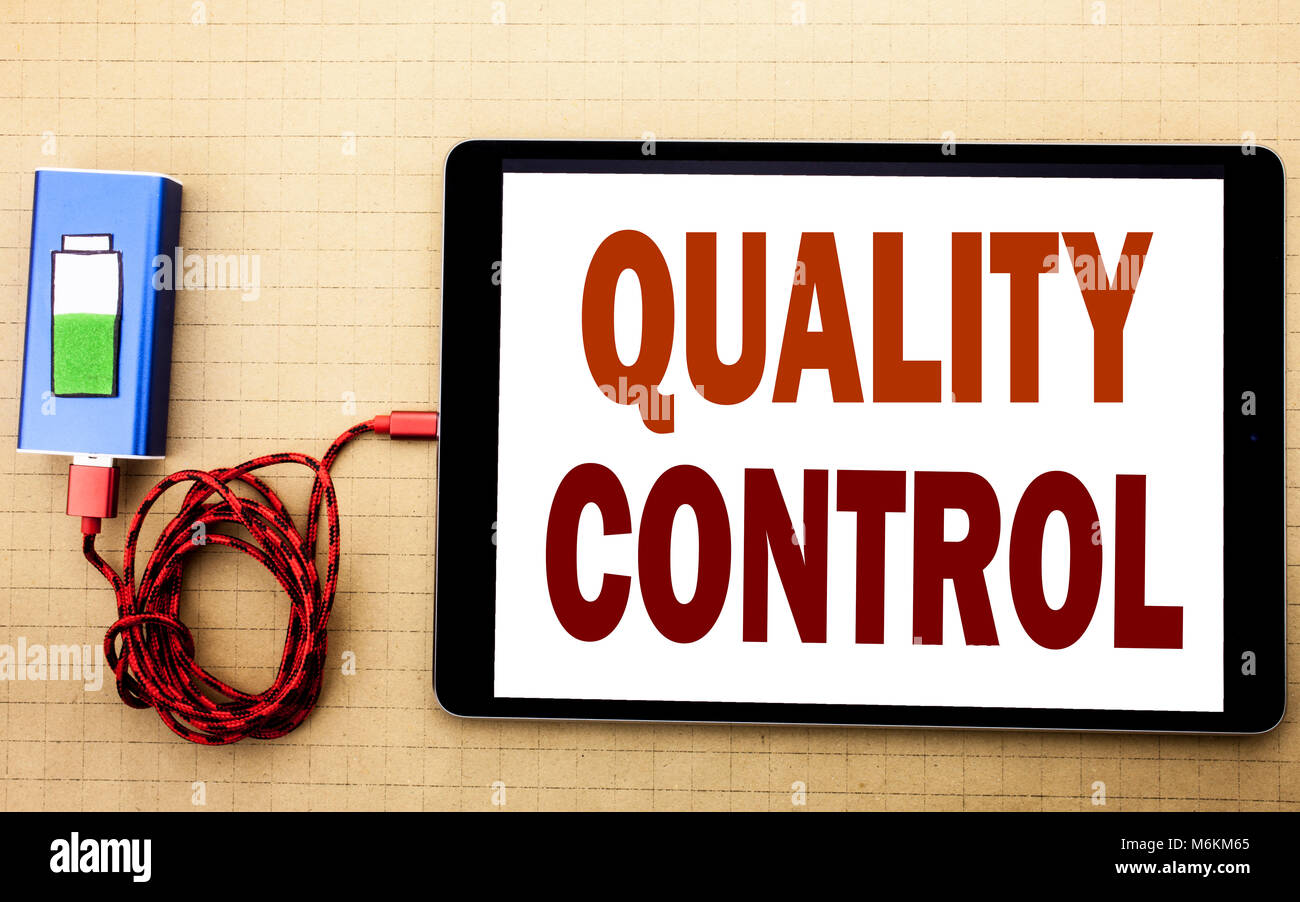 Hand writing text caption inspiration showing Quality Control. Business concept for Improvement Work written on Stock Photo