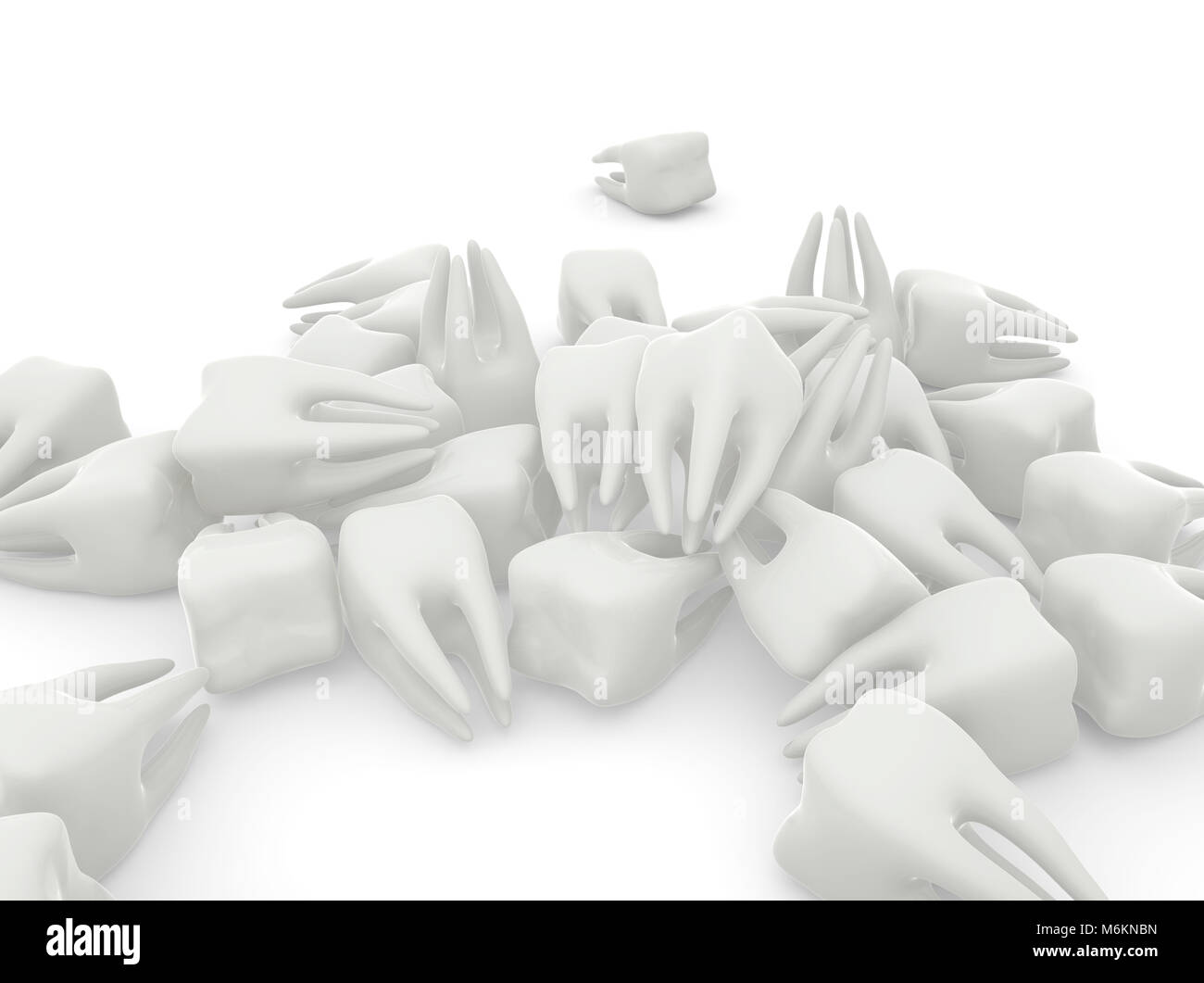 Many molars on white isolated background. 3D illustration - Stock Image