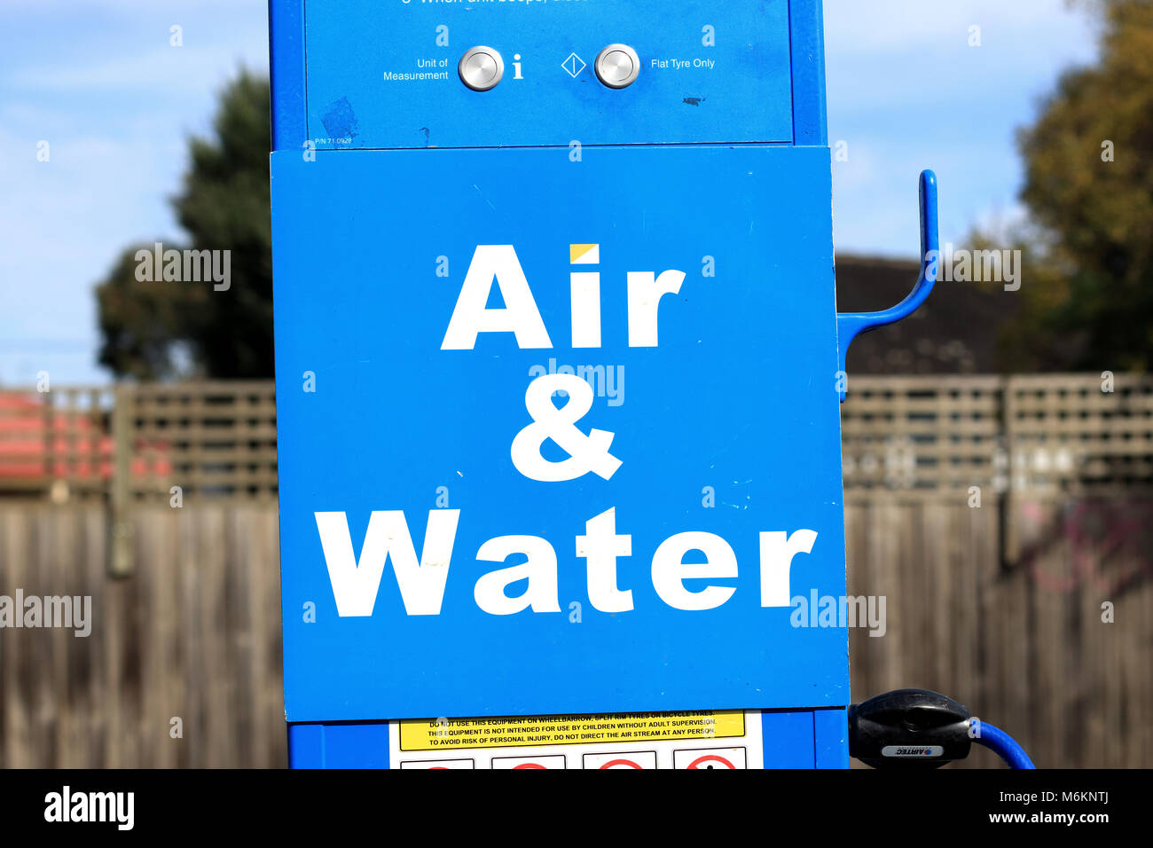 Water tap and Air Pressure pump hose at United Petrol Station in Melbourne Victoria Australia - Stock Image