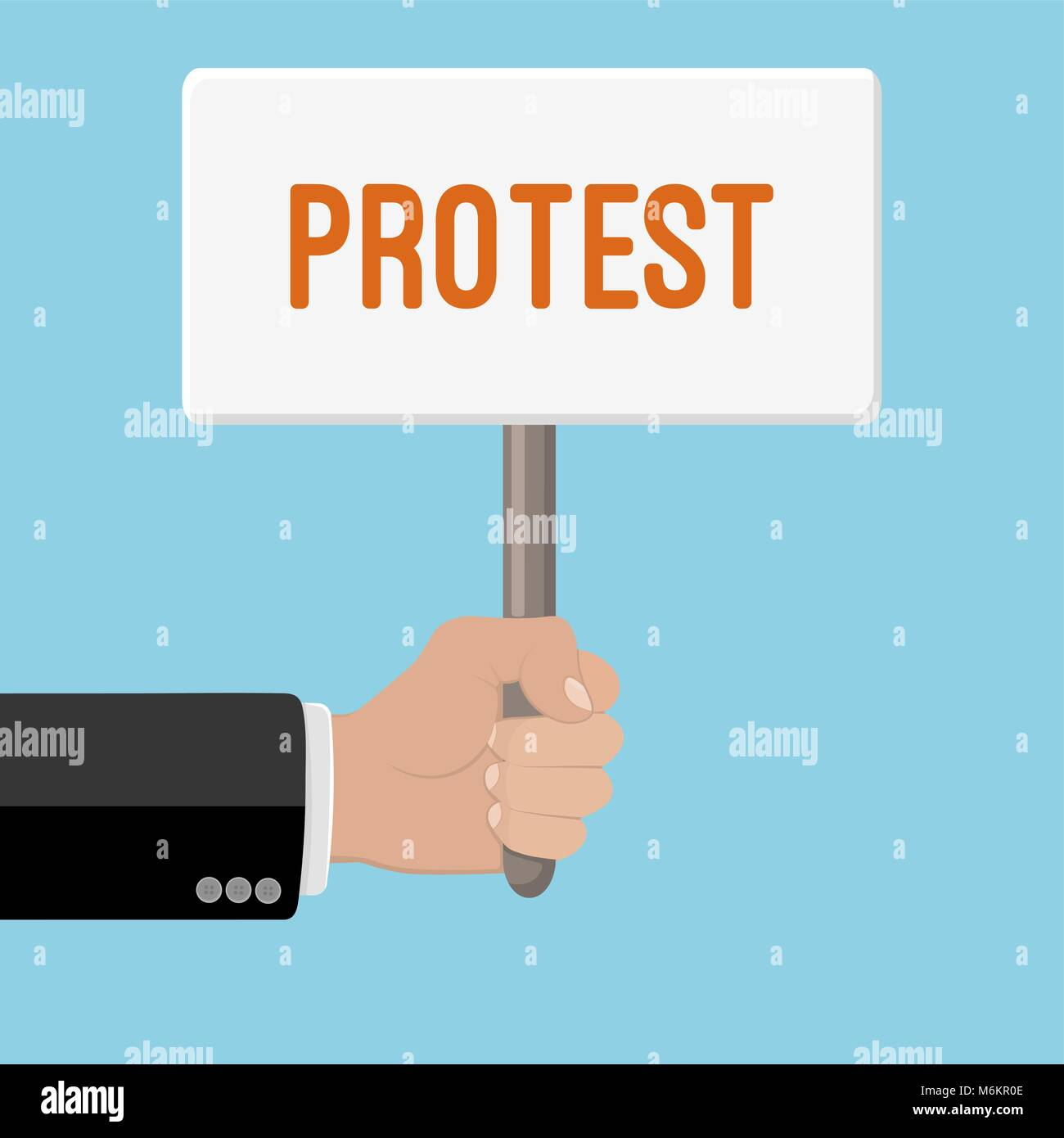 Realistic hand with clenched fist and plate ptotest. Flat design. Fist of revolution and protest. Agitation concept. - Stock Vector